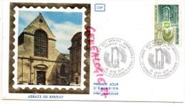 14- SAINT PIERRE SUR DIVES- 16-6-1979- ABBAYE DE BERNAY   TIMBRE SUR SOIE - 1970-1979