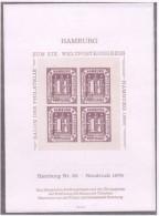 Hamburg 1866 Offizieler Nachdruck Mi. 20 In Viererblock MNH - Hamburg