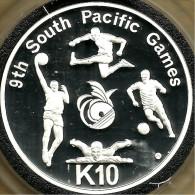 PAPUA NEW GUINEA 10 KINA SP GAMES SOCCER ETC FRONT BIRD EMBLEM BACK 1991 AG SILVER 1.4Oz FREAD DESCRIPTION CAREFULLY !!! - Papouasie-Nouvelle-Guinée