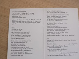 Doodsprentje Jozef Butaye Houtem 10/7/1921 Gent  26/9/1997 ( Suzanne Slove) - Religion & Esotericism