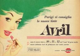 # AVRIL (type 5) ROUGE STOP PARIS 1950s Advert Pubblicità Publicitè Reklame Lipstick Rossetto Lapiz Labial Beautè - Perfume & Beauty
