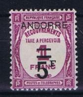 Andorre Fr. Mi Taxe 13 , MH/*  Yv  Taxe 15