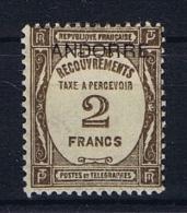 Andorre Fr. Mi Taxe 15 , MH/*  Yv  Taxe 14