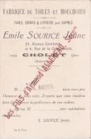 CARTE DE VISITE ANCIENNE ETS EMILE SOURICE JEUNE CHOLET TAIES DRAPS ET LINGERIE POUR DAMES - Visiting Cards
