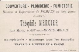 CARTE DE VISITE ANCIENNE ETS THEOPHILE MERCIER RUE MARIN SOISY SOUS MONTMORENCY COUVERTURE PLOMBERIE FUMISTERIE - Visiting Cards