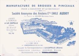 CARTE DE VISITE ANCIENNE MANUFACTURE DE BROSSE A PINCEAUX ETS EMILE AUDRY LA CAPELLE AISNE - Visiting Cards