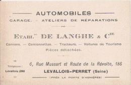 CARTE VISITE ANCIENNE ETS DE LANGHE ET CIE LEVALLOIS PERRET SEINE AUTOMOBILES GARAGE ATELIER DE REPARATIONS - Visiting Cards