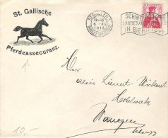 """Brief Mit Landi-Flagge 6.XII.1913 Nach Wangen/Schwyz Mit Zu 104 Mi 98 """"St.Gallische Pferdeassecuranz"""" - Lettres & Documents"""