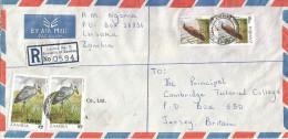 Zambia 1990 Lusaka 5n Overprinted K3 Cisticola Bird K2 Overprinted K20 Shoebill Registered Cover - Zambia (1965-...)
