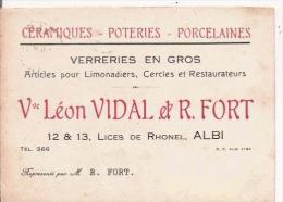ALBI (TARN) CARTE DE VISITE ETS VEUVE LEON VIDAL ET R FORT VERRERIES EN GROS ARTICLES POUR LIMONADIERS CERCLES 1936 - Visiting Cards