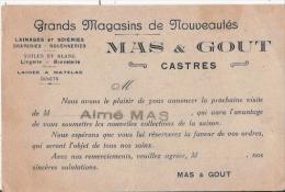 CASTRES (TARN) CARTE DE VISITE ANCIENNE DES ETS MAS ET GOUT LAINAGES ET SOIERIES DRAPERIES ROUENNERIE - Visiting Cards