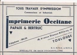 TOULOUSE CARTE DE VISITE ANCIENNE DE L'IMPRIMERIE OCCITANE PAPAIX ET BERTRUC 48 AV ETIENNE BILLIERES - Visiting Cards