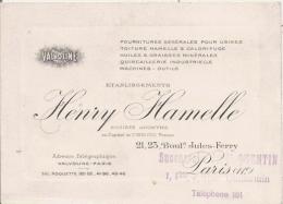 PARIS 11 E ARR CARTE DE VISITE DES ETS HENRY HAMELLE (VALVOLINE) FURES USINES . TOITURE HUILES QUINACAILLERIE ... - Visiting Cards