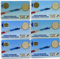 Lot 6 Télécartes Utilisées Cordons Dont 1 SC4 Or Noir Texte 2A 6 N° Impacts (lot 12) - Télécartes