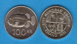 ISLANDIA / ICELAND  100 Coronas 2.011  2011  Niquel-Latón KM#35  SC/UNC  T-DL-10.789 - Islandia