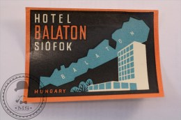 Hotel Balaton Siófok, Hungary - Original Vintage Luggage Hotel Label - Sticker - Etiquetas De Hotel