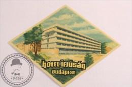 Hotel Ifúság Budapest, Hungary - Original Vintage Luggage Hotel Labels -Sticker - Hotel Labels