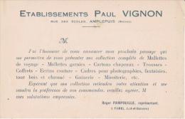 AMPLEPUIS (RHONE) CARTE DE VISITE ANCIENNE ETS PAUL VIGNON (MALETTES CARTONS CHAPEAUX TROUSSES COFFRETS...) - Visiting Cards