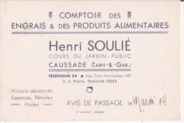 CAUSSADE (TARN ET GARONNE) CARTE DE VISITE ANCIENNE HENRI SOULIE COMPTOIR DES ENGRAIS ET PRODUITS ALIMENTAIRES - Visiting Cards