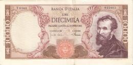 BILLETE DE ITALIA DE 10000 LIRAS DEL AÑO 1968 DE MICHELANGELO (BANKNOTE) - [ 2] 1946-… : República
