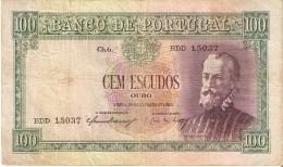 BILLETE DE PORTUGAL DE 100 ESCUDOS OURO DEL AÑO 1950  (BANKNOTE-BANK NOTE) RARO - Portugal