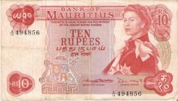 BILLETE DE MAURITIUS DE 10 RUPIAS DEL AÑO 1967  (BANKNOTE) - Mauricio