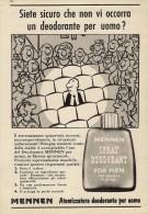 # MENNEN DEODORANT,  ITALY 1950s Advert Pubblicità Publicitè Reklame Deodorante Desodorant Desodorante - Perfume & Beauty