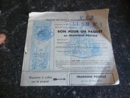 BON POUR UN PAQUET En FRANCHISE POSTALE Loi Du 24 Mai 1951 : Militaire Poste Aux Armées ? Vierge - Errors & Oddities