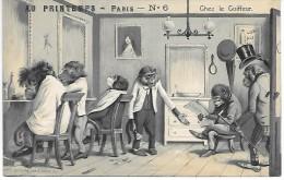 SINGES - Chez Le Coiffeur - AU PRINTEMPS - PARIS - N° 6 - Carte Gauffrée - Apen