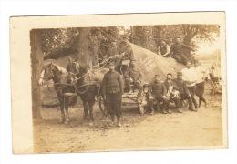 CARTE-PHOTO (02) - HARGICOURT 1915 : Attelage Et Soldats : - France
