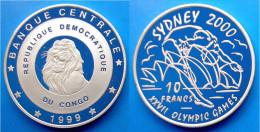 CONGO 10 F 1999 ARGENTO PROOF XXVII OLYMPIC GAMES SYDNEY 2000 TUFFO PESO 25,31g TITOLO 0,925 CONSERVAZIONE FONDO SPECCHI - Congo (Democratic Republic 1998)