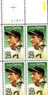 U.S. 2417 Plate Block #  Lou Gehrig  BASEBALL  ** - United States