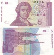 Banknote 5 Dinara Kroatien Hrvatska CROATIA Dinar Money Note Hrvatskih HRD Pet Geld Money Papiergeld - Kroatien