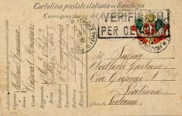 1915 POSTA MILITARE MESSINA REGGIO C. - 4´ REGG. ARTIGLIERIA FORTEZZA COSTA - 1900-44 Vittorio Emanuele III