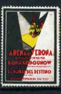 VIGNETTE - ERINNOPHILIE  -  ARENES DE VERONE - BORIS GODOUNOV - LA FORCE DU DESTIN - 1930 - Music