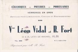 ALBI (TARN) CARTE DE VISITE ANCIENNE ETS VEUVE LEON VIDAL ET R FORT CERAMIQUES POTERIES PORCELAINES 1938 - Visiting Cards