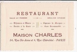 PARIS CARTE DE VISITE ANCIENNE RESTAURANT MAISON CHARLES 54 RUE STE ANNE ET 4 RUE CHERUBINI - Visiting Cards