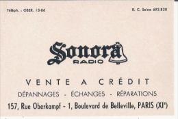CARTE DE VISITE ANCIENNE SONORA RADIO PARIS - Visiting Cards