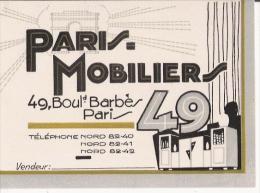 PARIS MOBILIER 49 BD BARBES PARIS CARTE DE VISITE ANCIENNE - Visiting Cards