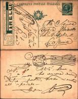 217) Intero Postale Da 15c. Leoni Con Pubblicità Pneumatici Pirelli- Viaggiata Nel 1920 - Interi Postali