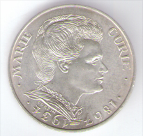 FRANCIA 100 FRANCS 1984 AG SILVER MARIE CURIE - Commemorative
