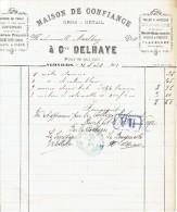 Facture 1892 VERVIERS - Cne DELHAYE - Linges De Table, Couvertures, Toiles à Matelas, Flanelles, Mousseline - Sin Clasificación