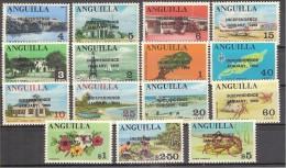** 1969 ANGUILLA OVERPRINT  INDIPENDENCE 15 VAL. MNH - Anguilla (1968-...)