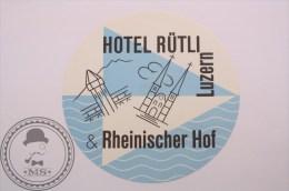 Hotel Rütli Rheinscher Hof Luzern, Switzerland -Original Luggage Label - Sticker - Etiketten Van Hotels