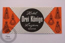 Hotel Drei Könige Luzern, Switzerland - Original Vintage Luggage Label - Sticker - Etiketten Van Hotels