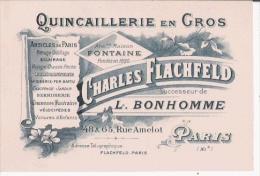 PARIS CARTE DE VISITE ANCIENNE ETS CHARLES FLACHFELD SUCC DE L BONHOMME QUINCAILLERIE EN GROS - Visiting Cards