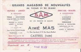 CASTRES (TARN) CARTE DE VISITE ANCIENNE ETS AIME MAS GRANDS MAGASINS DE NOUVEAUTES DE TISSUS ET DE BLANC - Visiting Cards