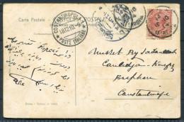 1910 Italy Ferrovia Poste Italiane Constantinopoli Turkey Roma D'arte Esposizione Postcard - Constantinople - 1900-44 Victor Emmanuel III