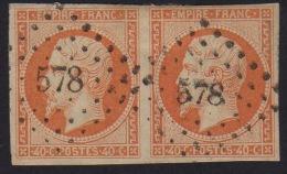 N° 16 - Napoléon III 40c Orange - N° 578 Caen Variété Du Chiffre - 1853-1860 Napoléon III.