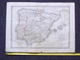 CARTE DE L´ESPAGNE ET DU PORTUGAL 1839: Extraite De L´Atlas De La Géographie Ancienne Dressée Par MONIN - Cartes Marines